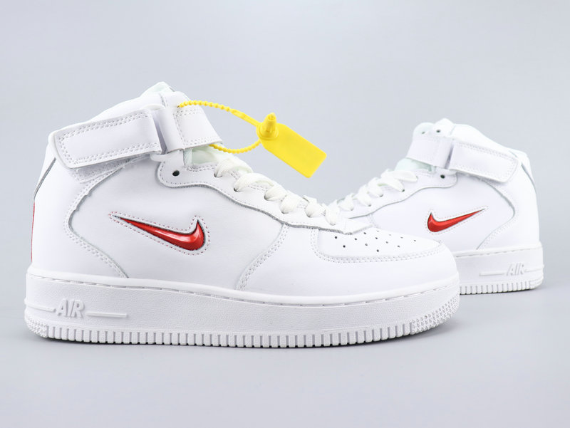 2020 Nike Air Force 1 Mid Retro PRM QS White Red For Women